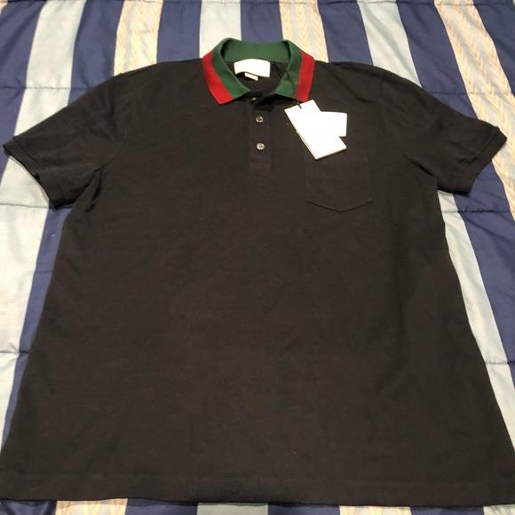 ba36e3b2 Gucci Shirts | Black Polo With Red And Green Collar | Poshmark